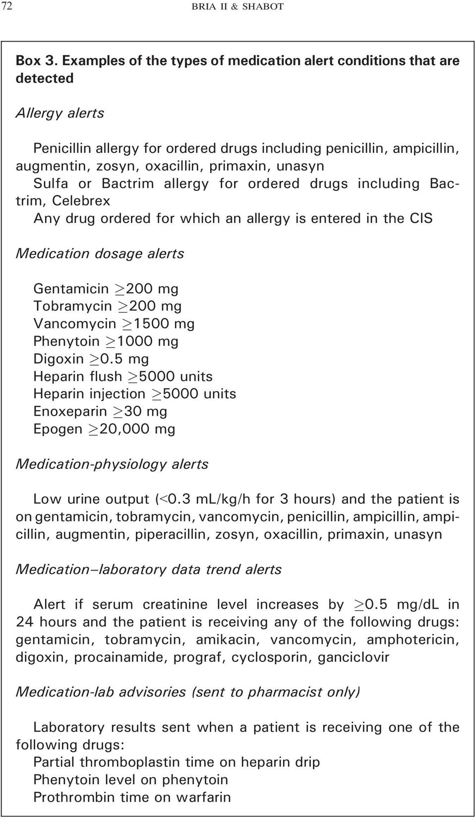 unasyn Sulfa or Bactrim allergy for ordered drugs including Bactrim, Celebrex Any drug ordered for which an allergy is entered in the CIS Medication dosage alerts Gentamicin 200 mg Tobramycin 200 mg