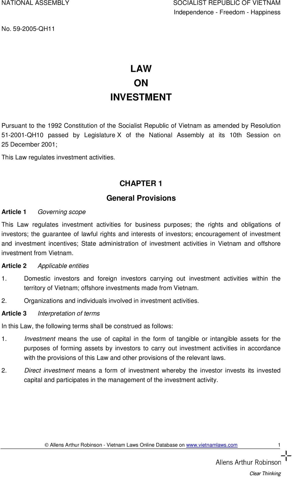 10th Session on 25 December 2001; This Law regulates investment activities.