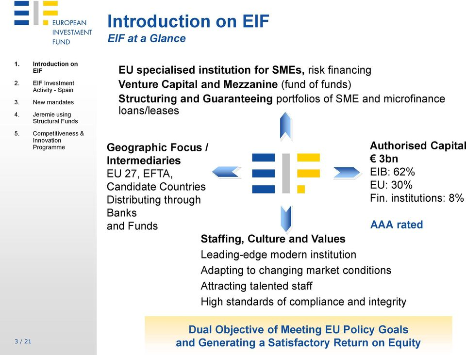 microfinance loans/leases Geographic Focus / Intermediaries EU 27, EFTA, Candidate Countries Distributing through Banks and Funds Staffing, Culture and Values