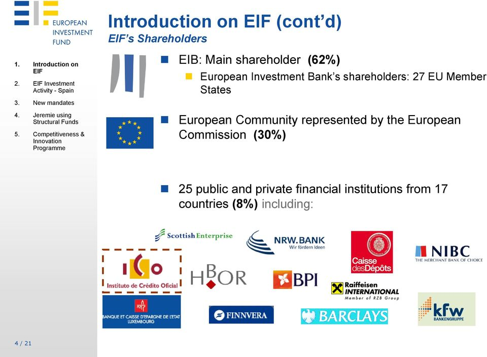 shareholders: 27 EU Member States European Community represented by the