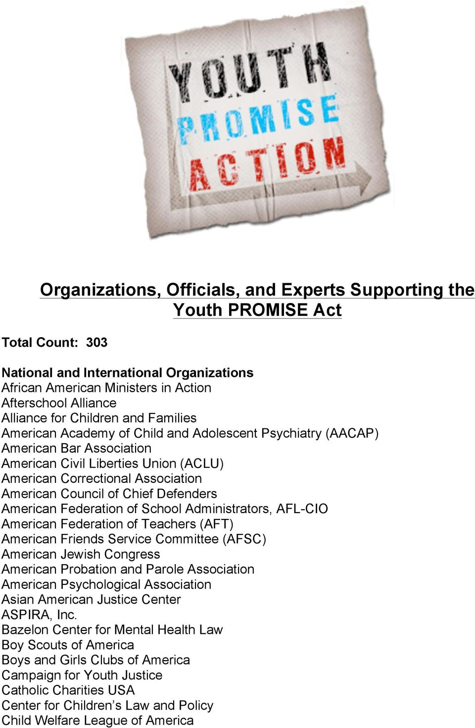 Chief Defenders American Federation of School Administrators, AFL-CIO American Federation of Teachers (AFT) American Friends Service Committee (AFSC) American Jewish Congress American Probation and