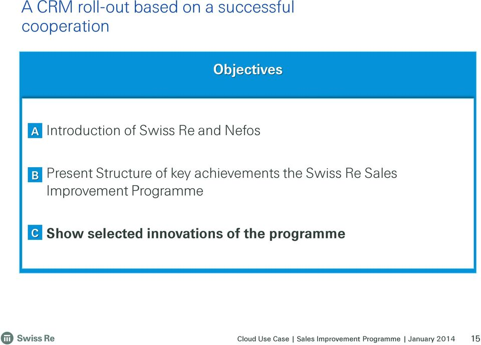 Present Structure of key achievements the Swiss Re Sales