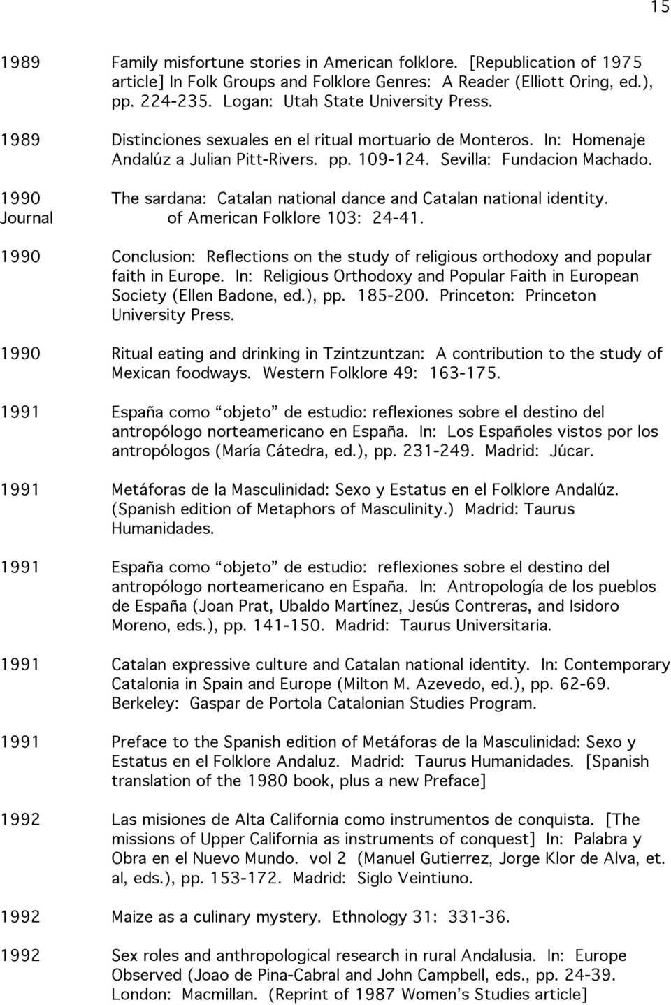 1990 The sardana: Catalan national dance and Catalan national identity. Journal of American Folklore 103: 24-41.