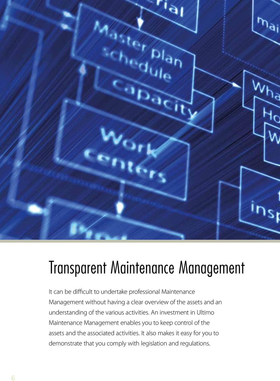 An investment in Ultimo Maintenance Management enables you to keep control of the assets and the