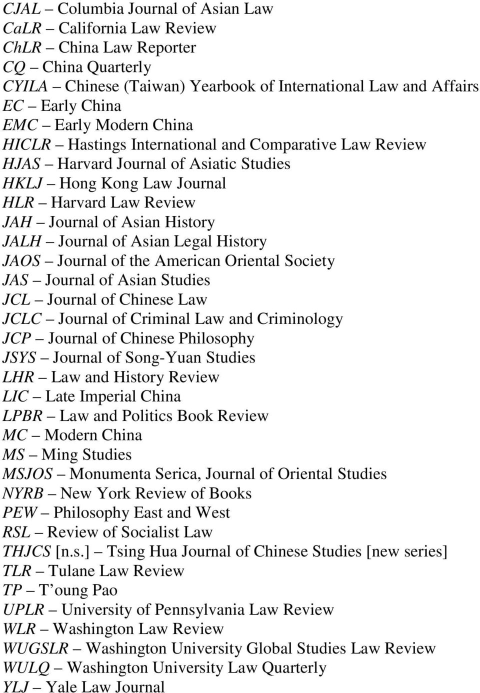 Journal of Asian Legal History JAOS Journal of the American Oriental Society JAS Journal of Asian Studies JCL Journal of Chinese Law JCLC Journal of Criminal Law and Criminology JCP Journal of