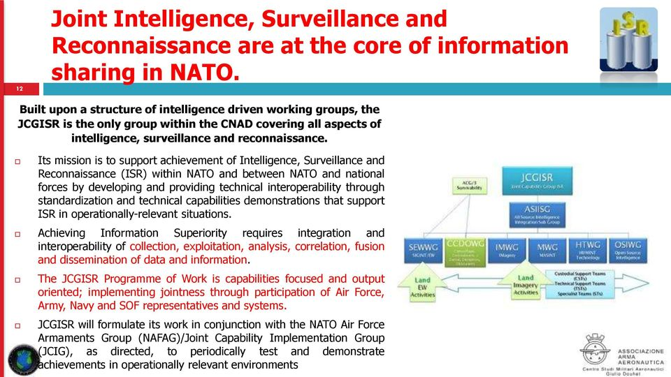 Its mission is to support achievement of Intelligence, Surveillance and Reconnaissance (ISR) within NATO and between NATO and national forces by developing and providing technical interoperability