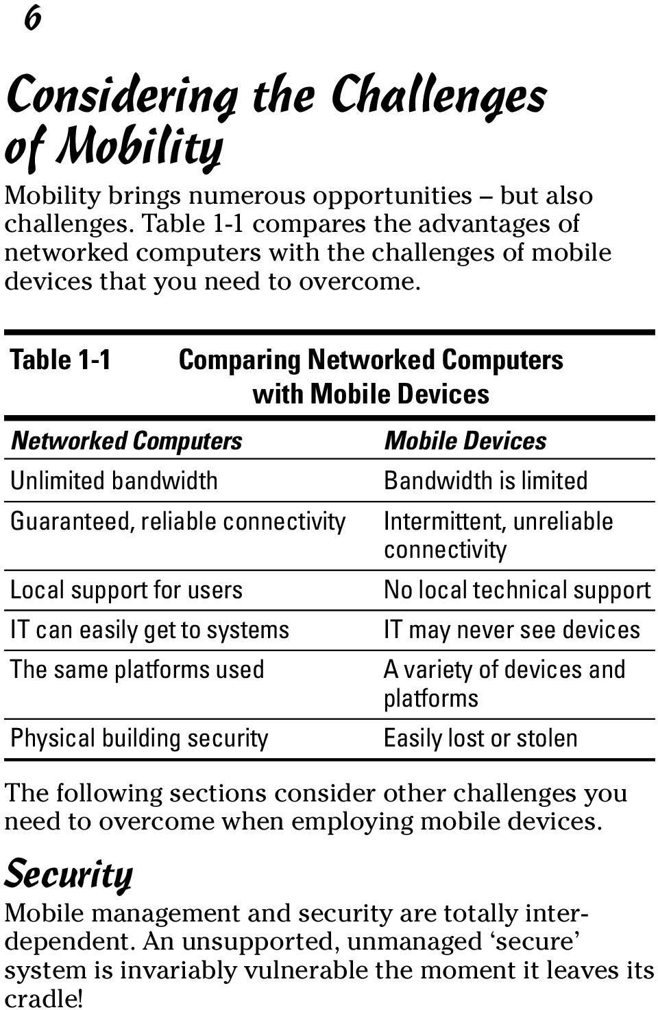 Table 1-1 Networked Computers Unlimited bandwidth Guaranteed, reliable connectivity Local support for users IT can easily get to systems The same platforms used Physical building security Comparing