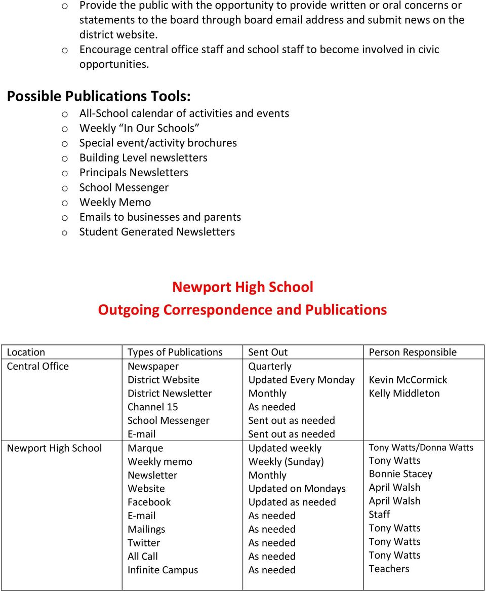 Possible Publications Tools: o All-School calendar of activities and events o Weekly In Our Schools o Special event/activity brochures o Building Level newsletters o Principals Newsletters o School
