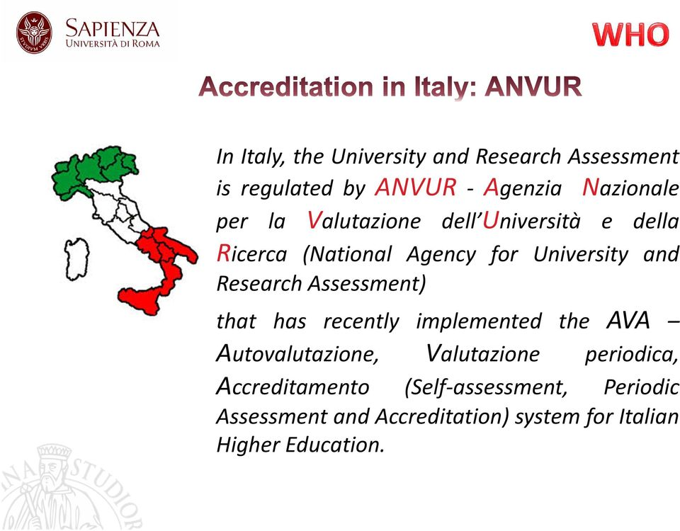 Assessment) that has recently implemented the AVA Autovalutazione, Valutazione periodica,