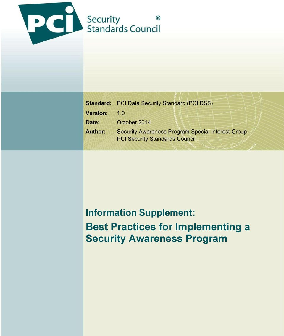 Special Interest Group PCI Security Standards Council