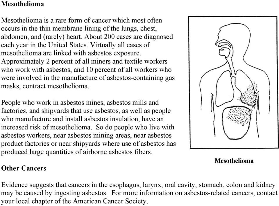 Approximately 2 percent of all miners and textile workers who work with asbestos, and 10 percent of all workers who were involved in the manufacture of asbestos-containing gas masks, contract