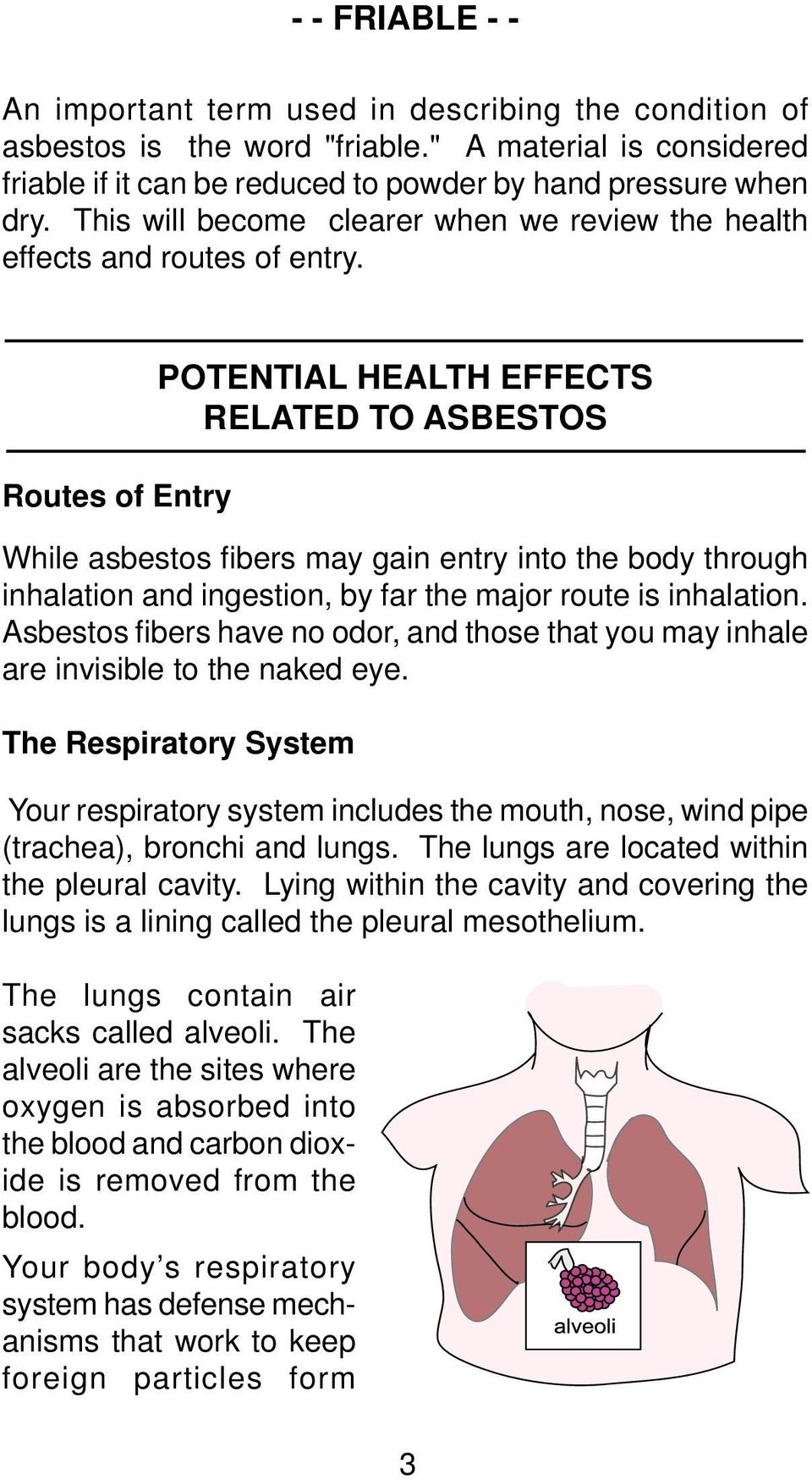 Routes of Entry POTENTIAL HEALTH EFFECTS RELATED TO ASBESTOS While asbestos fi bers may gain entry into the body through inhalation and ingestion, by far the major route is inhalation.