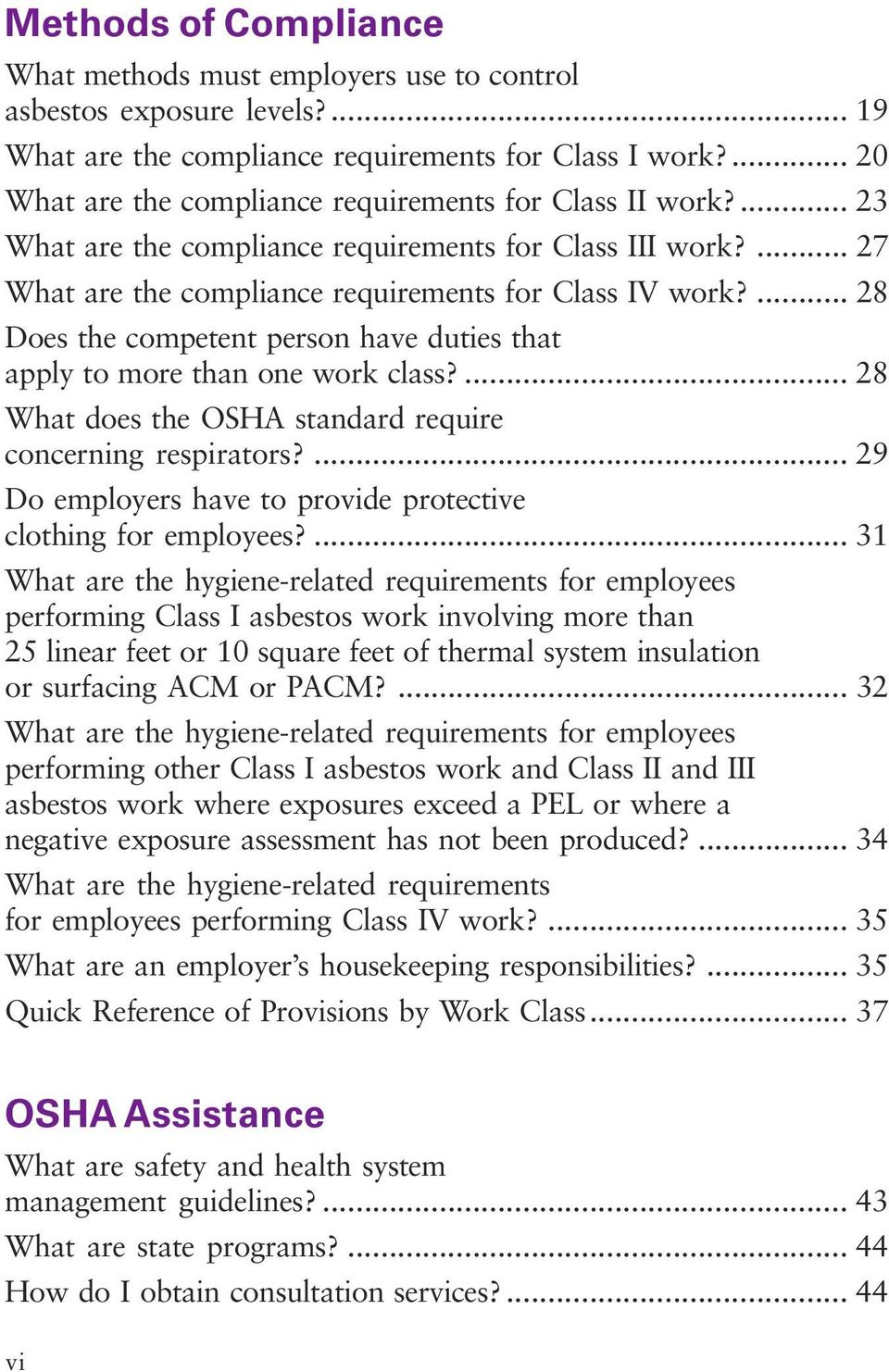 ... 28 Does the competent person have duties that apply to more than one work class?... 28 What does the OSHA standard require concerning respirators?