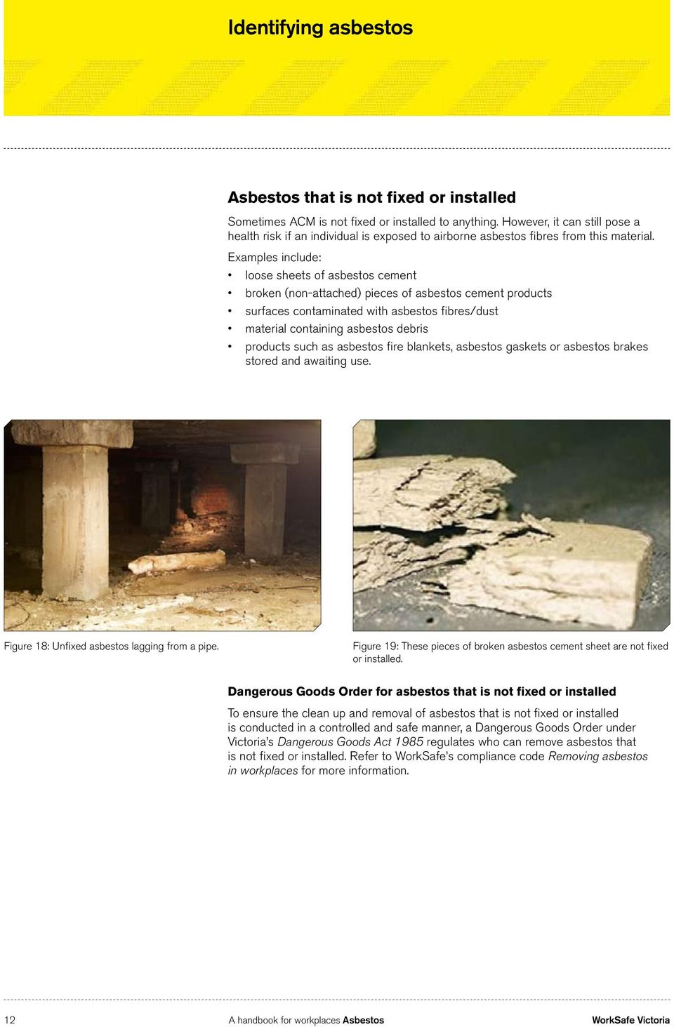 Examples include: loose sheets of asbestos cement broken (non-attached) pieces of asbestos cement products surfaces contaminated with asbestos fibres/dust material containing asbestos debris products
