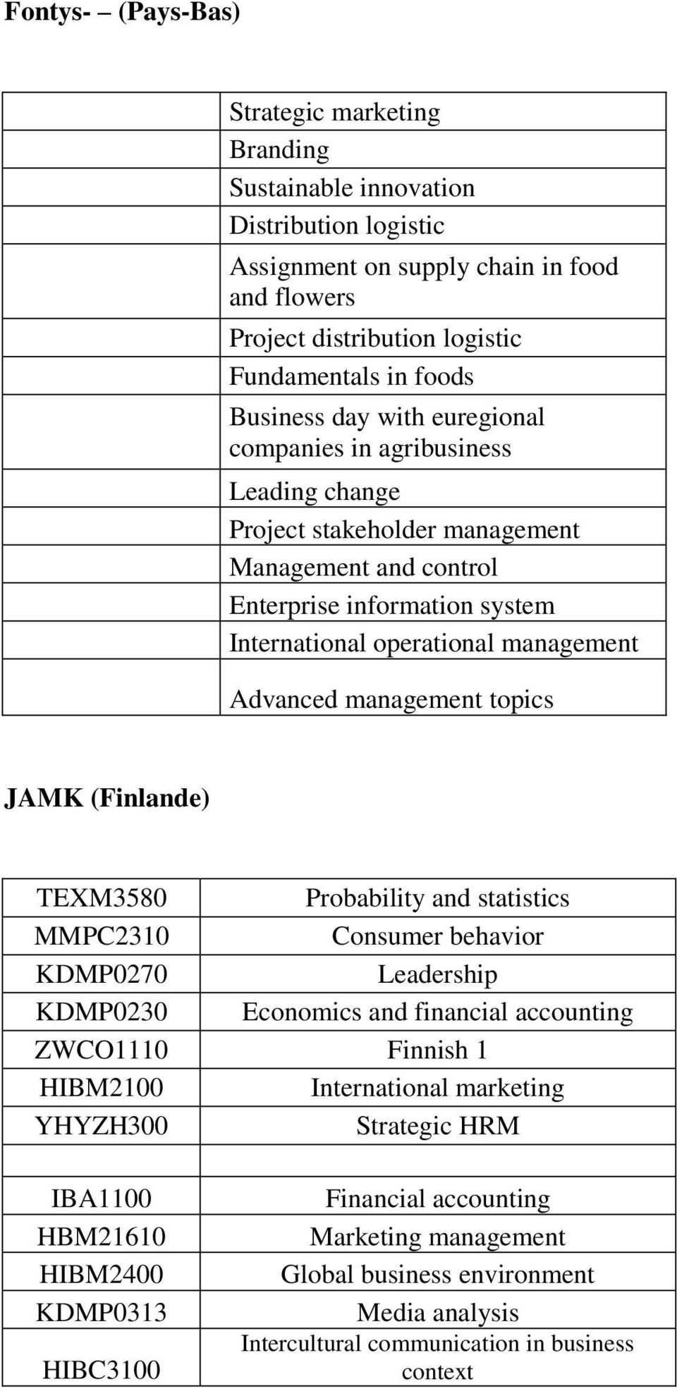 Advanced management topics JAMK (Finlande) TEXM3580 Probability and statistics MMPC2310 Consumer behavior KDMP0270 Leadership KDMP0230 Economics and financial accounting ZWCO1110 Finnish 1