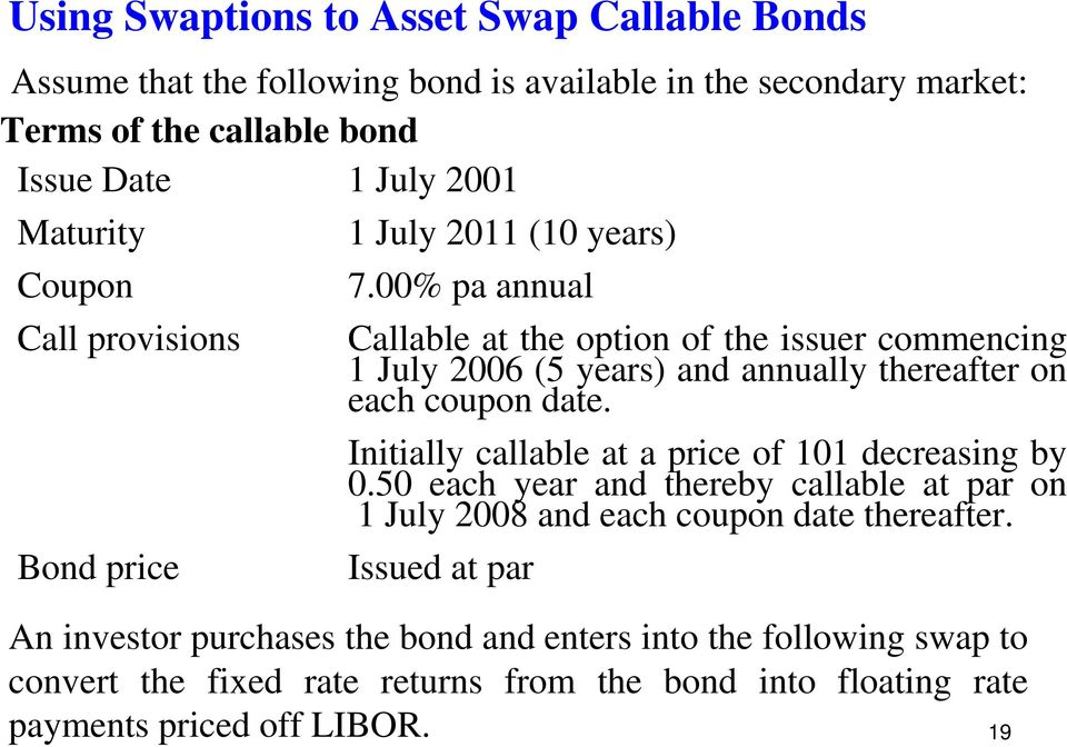 00% pa annual Call provisions Callable at the option of the issuer commencing 1 July 2006 (5 years) and annually thereafter on each coupon date.