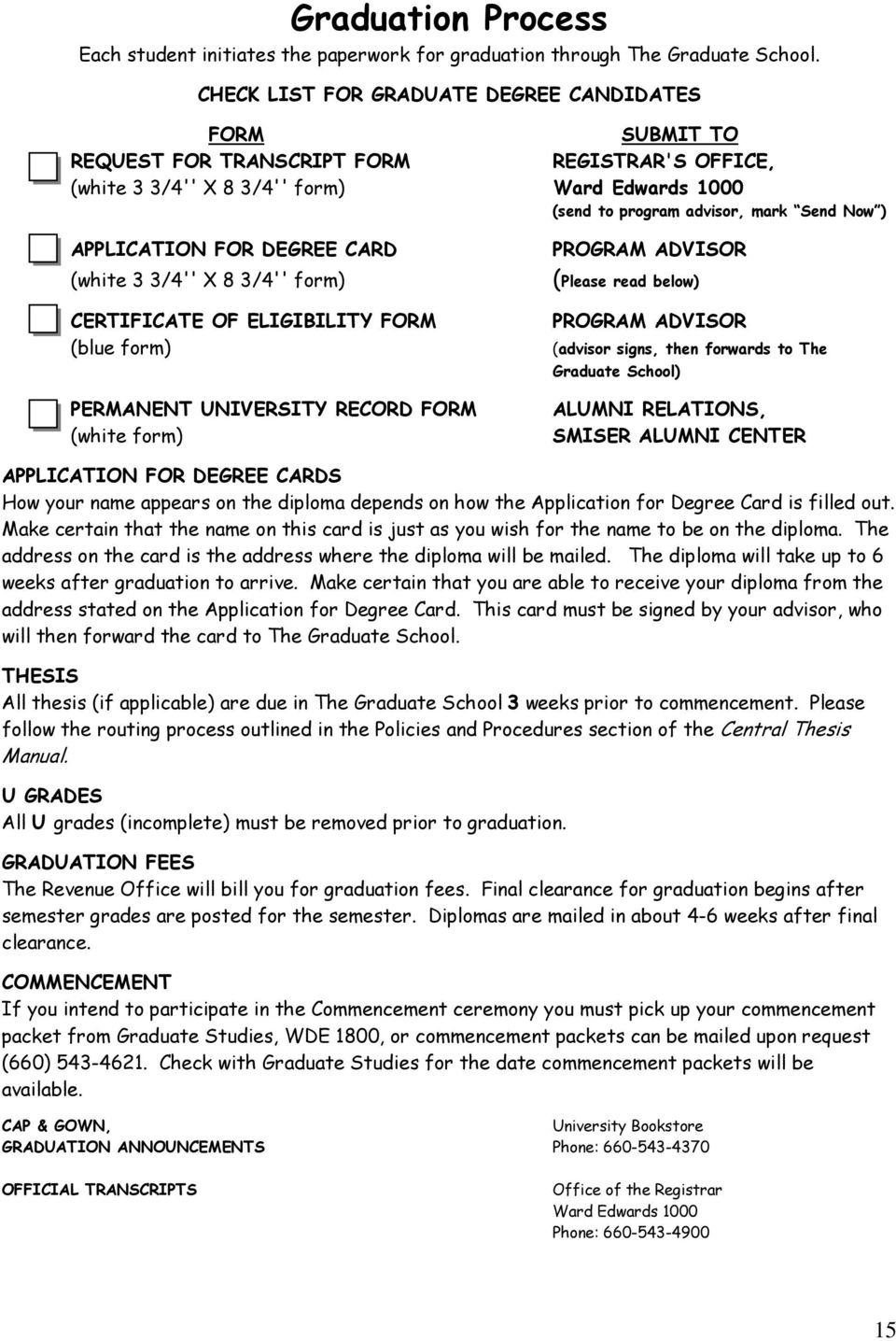 APPLICATION FOR DEGREE CARD (white 3 3/4'' X 8 3/4'' form) CERTIFICATE OF ELIGIBILITY FORM (blue form) PERMANENT UNIVERSITY RECORD FORM (white form) PROGRAM ADVISOR (Please read below) PROGRAM