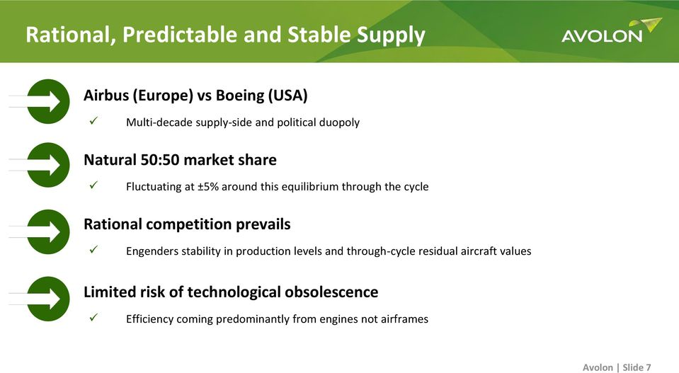 Rational competition prevails Engenders stability in production levels and through-cycle residual aircraft