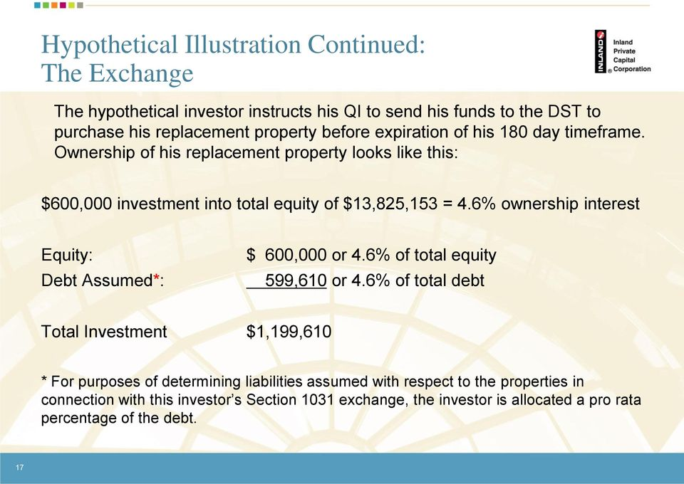 6% ownership interest Equity: Debt Assumed*: $ 600,000 or 4.6% of total equity 599,610 or 4.