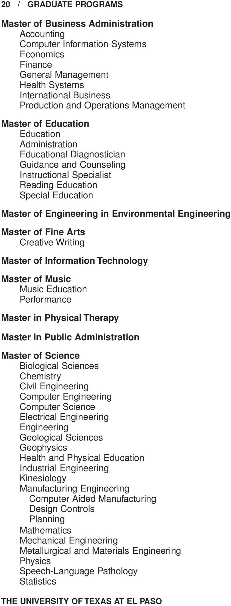 Environmental Engineering Master of Fine Arts Creative Writing Master of Information Technology Master of Music Music Education Performance Master in Physical Therapy Master in Public Administration