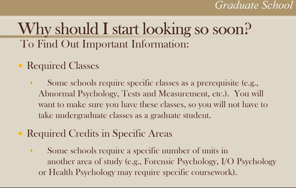 You will want to make sure you have these classes, so you will not have to take undergraduate classes as a graduate student.