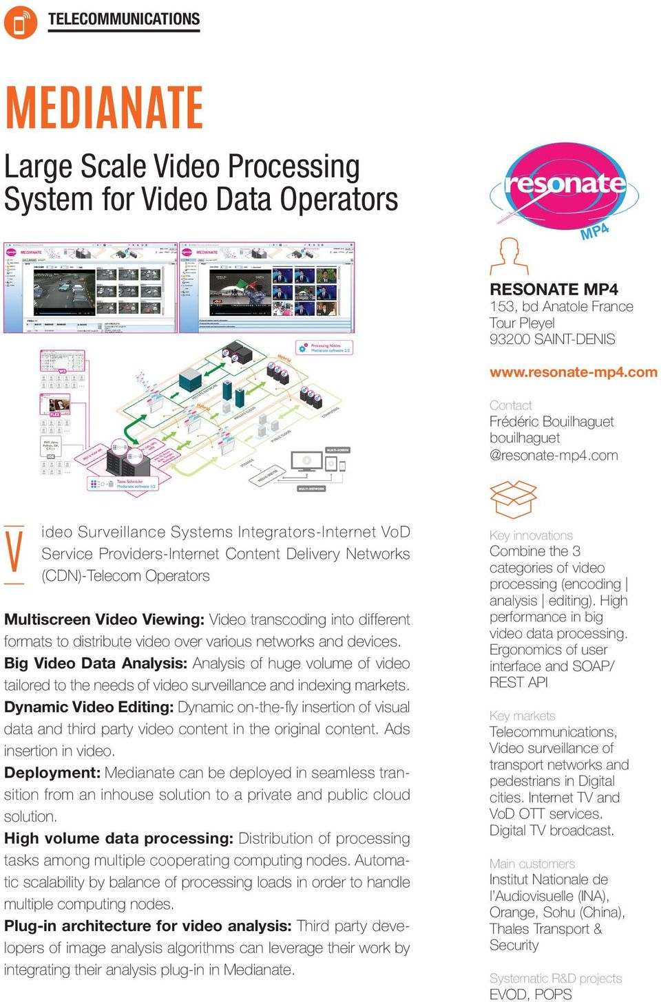 com V ideo Surveillance Systems Integrators-Internet VoD Service Providers-Internet Content Delivery Networks (CDN)-Telecom Operators Multiscreen Video Viewing: Video transcoding into different