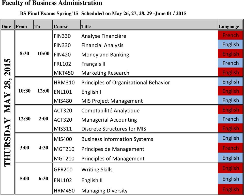 Comptabilité Analytique English ACT320 Managerial Accounting French MIS311 Discrete Structures for MIS English MIS400 Business Information Systems English 3:00 4:30