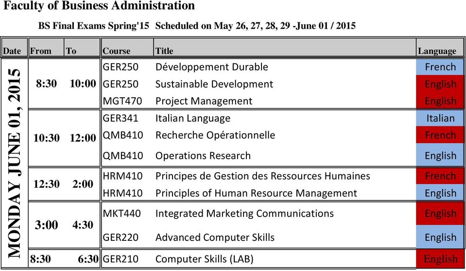 Research English HRM410 Principes de Gestion des Ressources Humaines French HRM410 Principles of Human Resource Management English 3:00