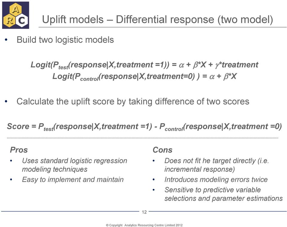P control (response X,treatment =0) Pros Uses standard logistic regression modeling techniques Easy to implement and maintain Cons Does not fit he