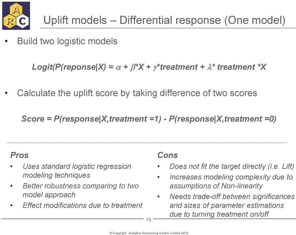 techniques Better robustness comparing to two model approach Effect modifications due to treatment 13 Cons Does not fit the target directly (i.e. Lift)