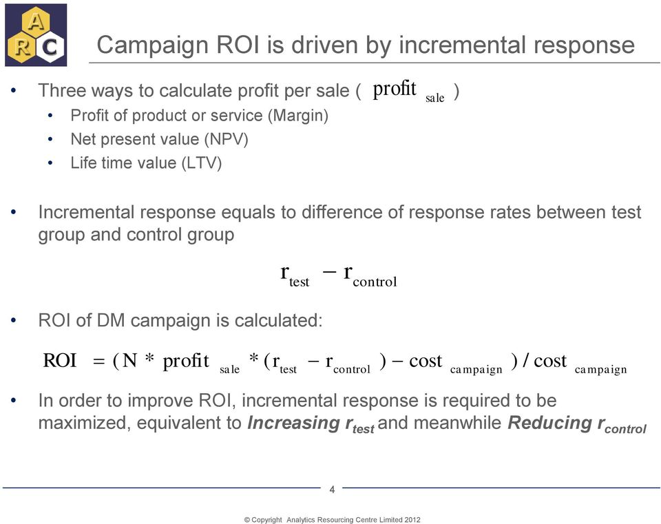 control group ROI of DM campaign is calculated: r r test control ROI ( N * profit * ( r r ) sale test control cost cam paign ) / cost cam
