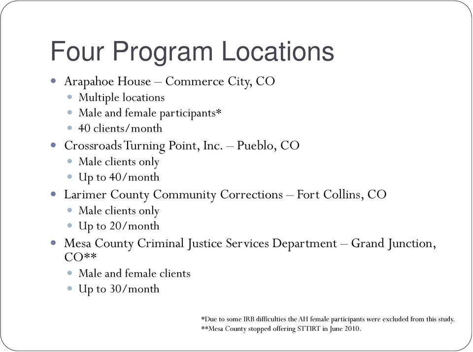 Pueblo, CO Male clients only Up to 40/month Larimer County Community Corrections Fort Collins, CO Male clients only Up to 20/month