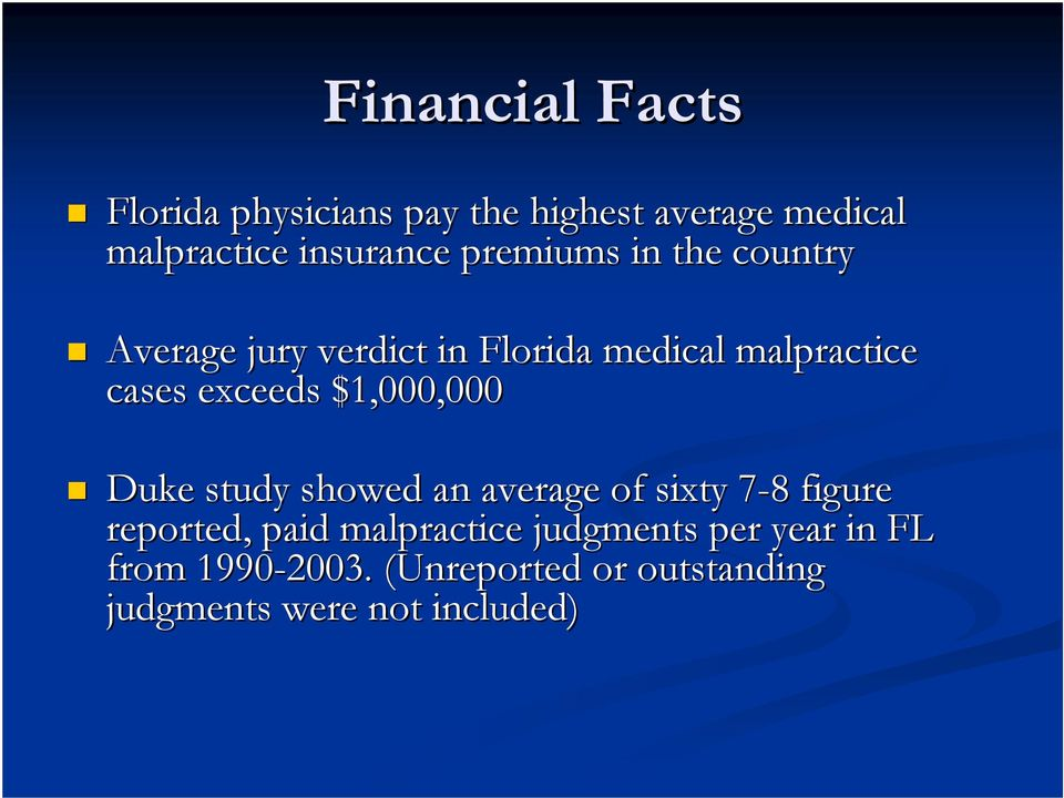 $1,000,000 Duke study showed an average of sixty 7-87 8 figure reported, paid malpractice