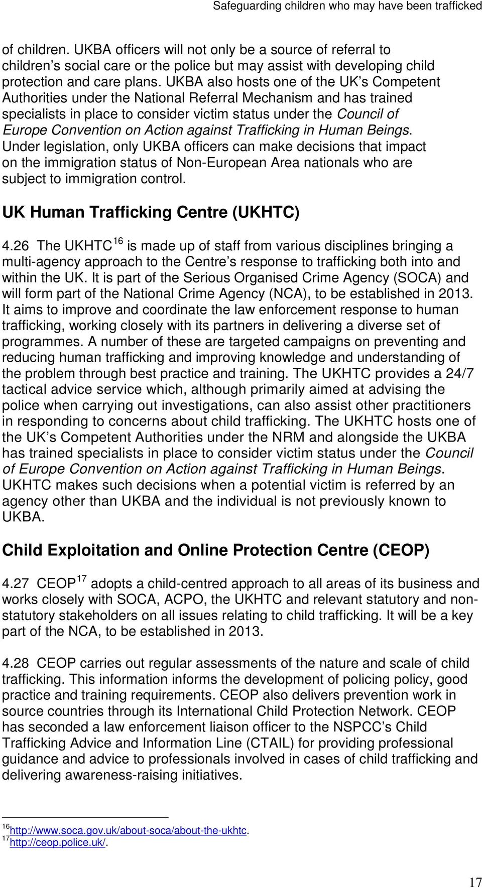 Action against Trafficking in Human Beings.