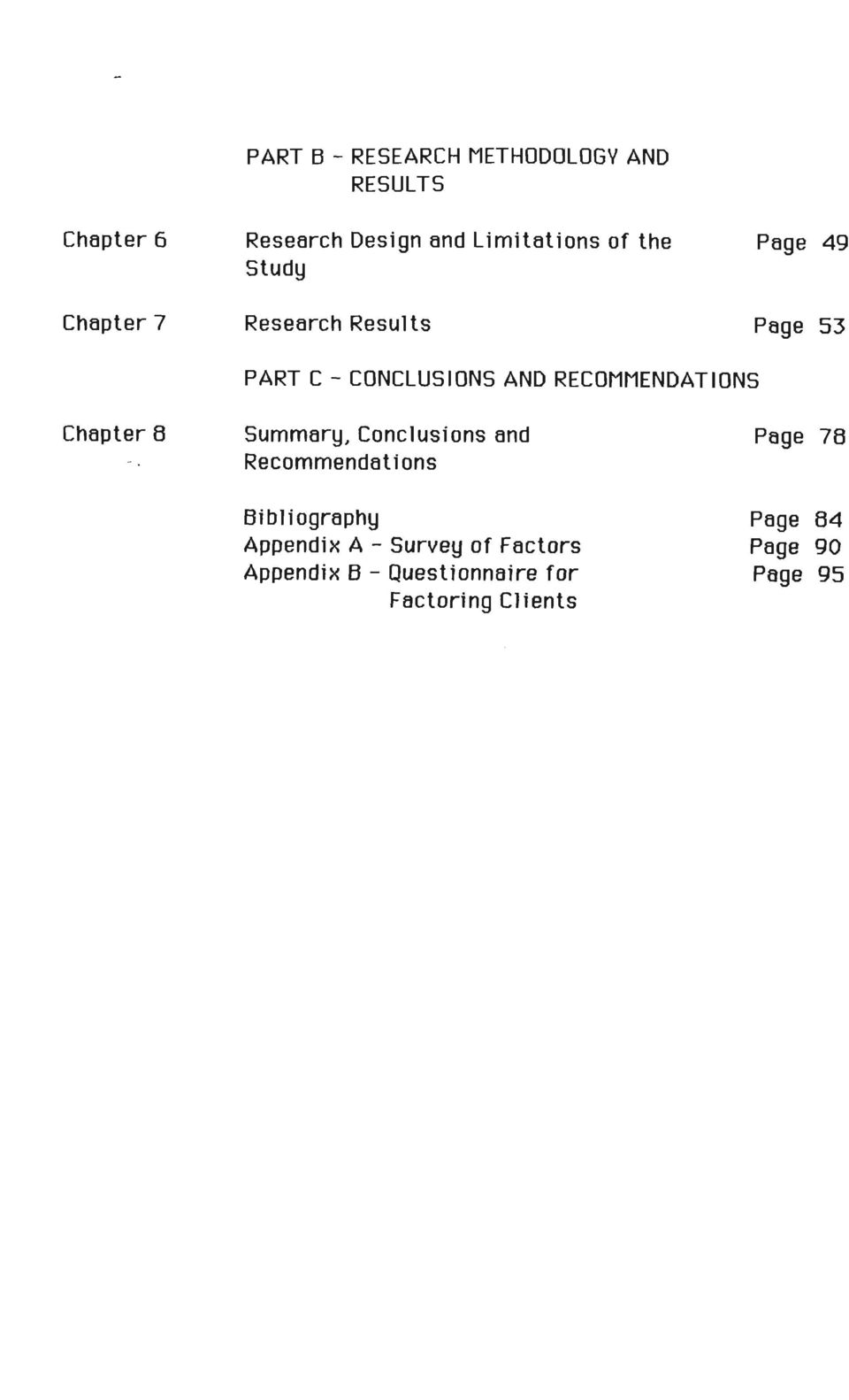 RECOMMENDATIONS Chapter 8 Summary, Conclusions and Recommendations Bibliography Appendix