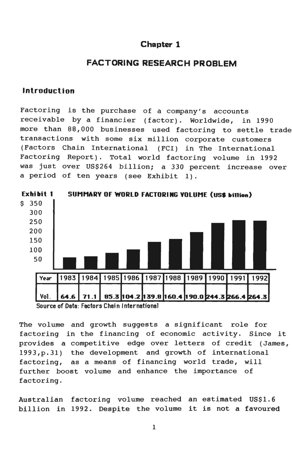 Report). Total world factoring volume in 1992 was just over US$264 billion; a 330 percent increase over a period of ten years (see Exhibit 1).