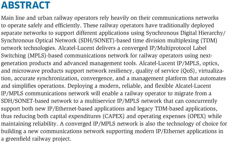division multiplexing (TDM) network technologies.