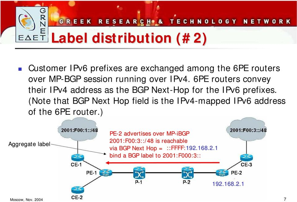 (Note that BGP Next Hop field is the IPv4-mapped IPv6 address of the 6PE router.