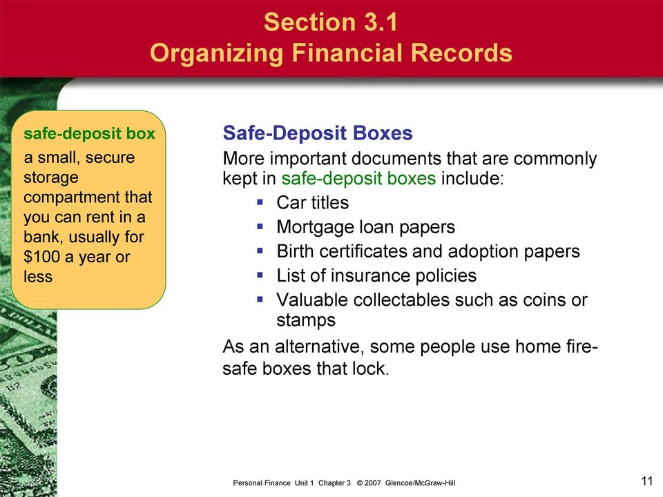usually for $100 a year or less Safe-Deposit Boxes More important documents that are commonly kept in safe-deposit
