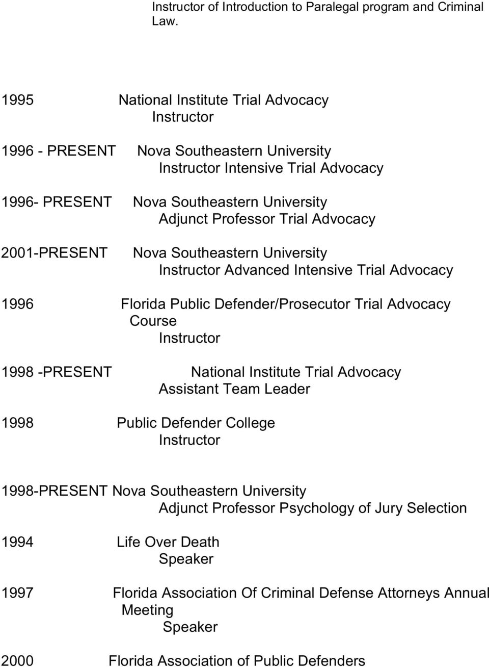 Advocacy 2001-PRESENT Nova Southeastern University Advanced Intensive Trial Advocacy 1996 Florida Public Defender/Prosecutor Trial Advocacy Course 1998 -PRESENT National