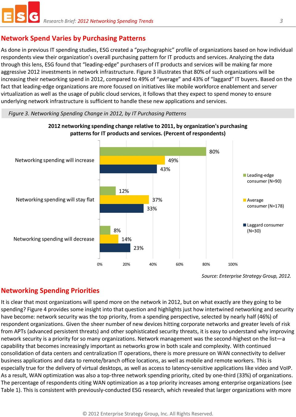 Analyzing the data through this lens, ESG found that leading-edge purchasers of IT products and services will be making far more aggressive 2012 investments in network infrastructure.