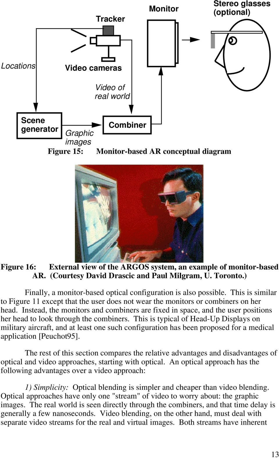 This is similar to Figure 11 except that the user does not wear the monitors or combiners on her head.