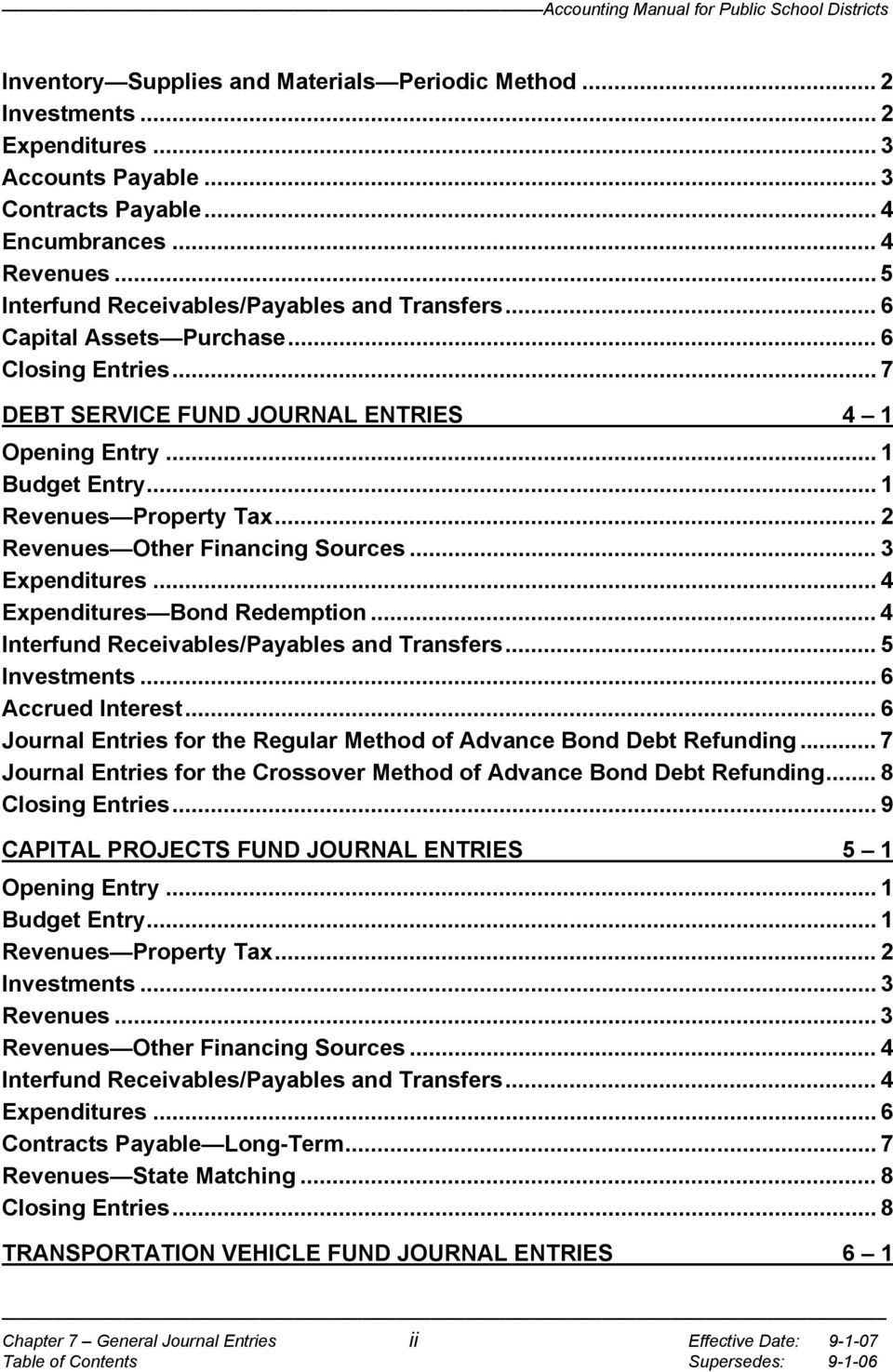 .. 2 Revenues Other Financing Sources... 3 Expenditures... 4 Expenditures Bond Redemption... 4 Interfund Receivables/Payables and Transfers... 5 Investments... 6 Accrued Interest.