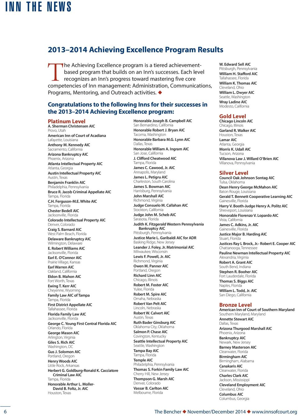 u Congratulations to the following Inns for their successes in the 2013 2014 Achieving Excellence program: Platinum Level A.