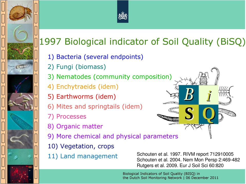 Processes 8) Organic matter i Q - 9) More chemical and physical parameters 1) Vegetation, crops 11) Land management