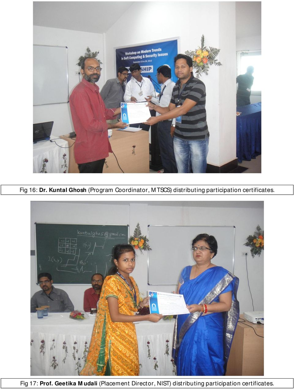 distributing participation certificates.