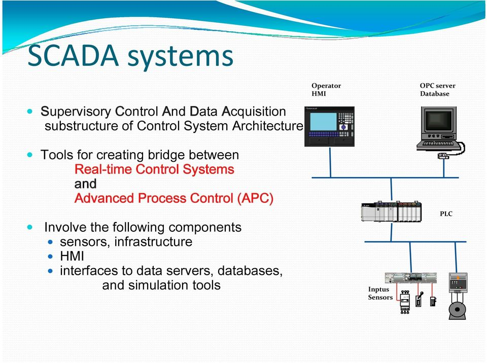 Control Systems and Advanced Process Control (APC) Involve the following components sensors,