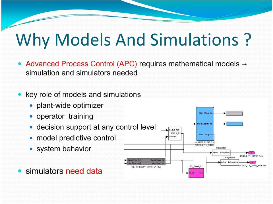 and simulators needed key role of models and simulations plant-wide