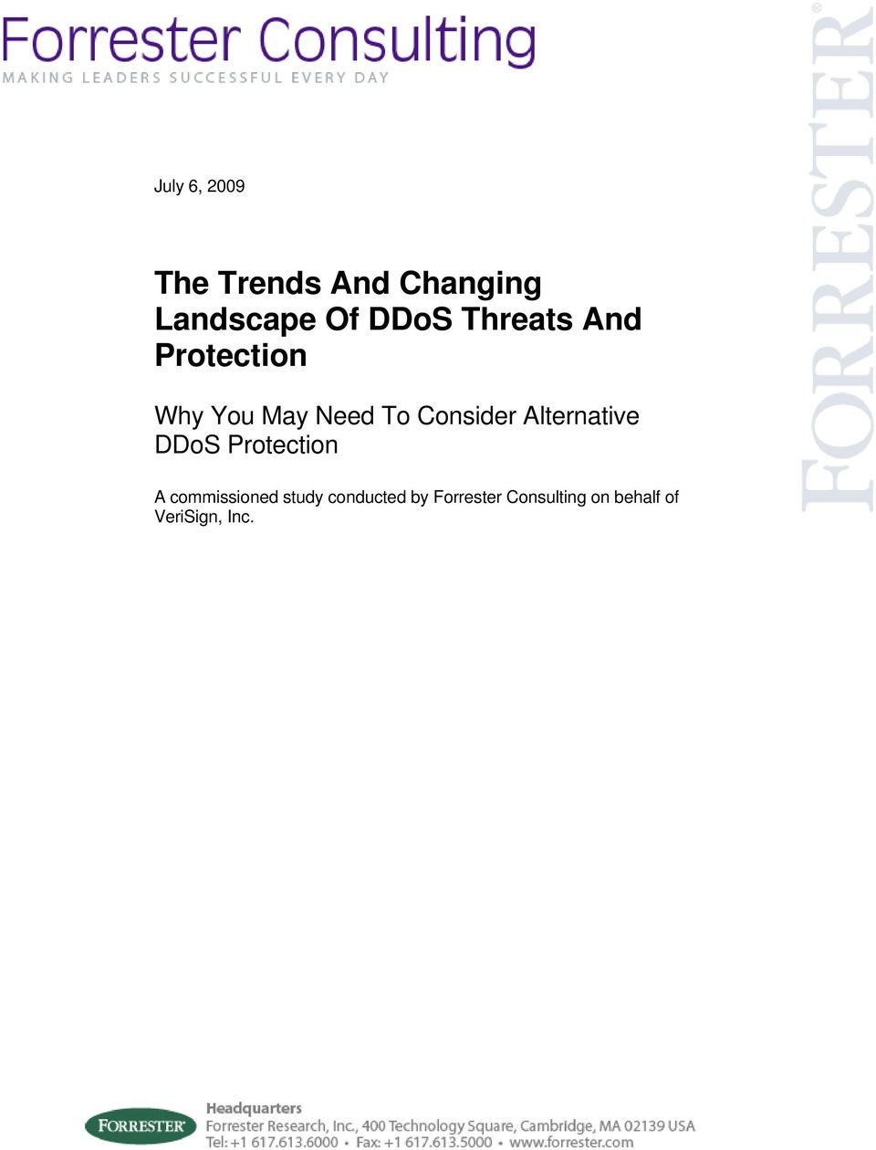 Alternative DDoS Protection A commissioned study