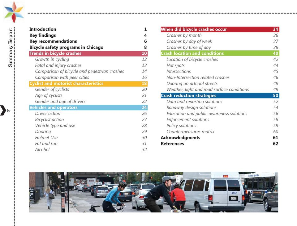 24 Driver action 26 Bicyclist action 27 Vehicle type and use 28 Dooring 29 Helmet Use 30 Hit and run 31 Alcohol 32 When did bicycle crashes occur 34 Crashes by month 36 Crashes by day of week 37